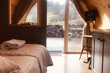 One Night Glamping Cabin Break at the Quiet Site, Lake District